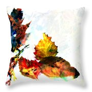 Painted Leaves Abstract 2 Throw Pillow