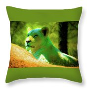 Painted Lion Throw Pillow