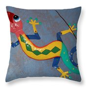 Painted Lizard Throw Pillow