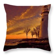 Painted Marblehead Lighthouse Throw Pillow