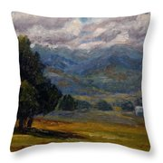 Painted Mountains II Throw Pillow