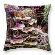 Painted Mushrooms Throw Pillow
