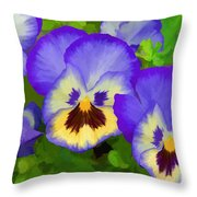 Painterly Pansies Throw Pillow
