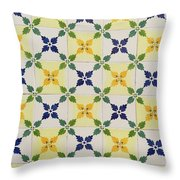 Painted Patterns - Floral Azulejo Tiles In Blue Green And Yellow Throw Pillow