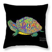 Painted Peace Turtle Too Throw Pillow