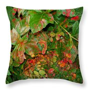 Painted Plants Throw Pillow