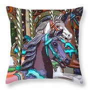 Painted Ponies Throw Pillow