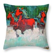 Painted Ponies -surf Run Throw Pillow