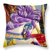 Painted Purple Pony Throw Pillow
