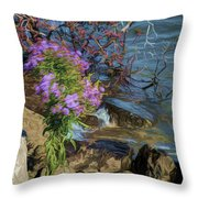 Painted River Flower Throw Pillow