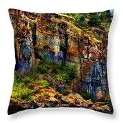 Painted Rock - Flathead Lake Throw Pillow