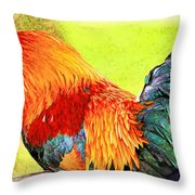 Painted Rooster Throw Pillow