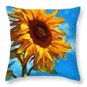 Painted Sunflower Throw Pillow