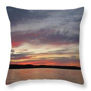Painted Sunset On Gunflint Lake Throw Pillow