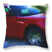 Painted T-bird Throw Pillow