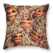 painted tangerines for Halloween Throw Pillow