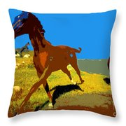 Painted War Horses Throw Pillow