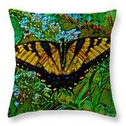 Painted Yellow Swallowtail Throw Pillow