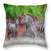 Painted Zebra Throw Pillow
