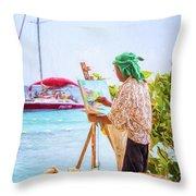 Painter At Work, Holetown Beach, Barbados Throw Pillow