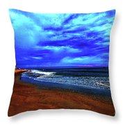 Painterly Beach Scene Throw Pillow