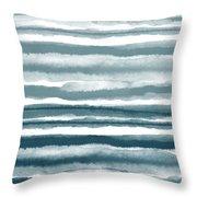 Painterly Beach Stripe 1- Art By Linda Woods Throw Pillow