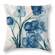 Painterly  Blues Throw Pillow