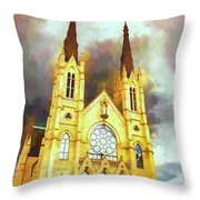 Painterly Church Throw Pillow