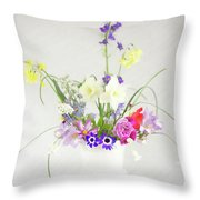 Painterly Homegrown Floral Bouquet Throw Pillow