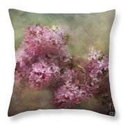 Painterly Lilac Blossom Photograph Throw Pillow