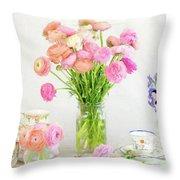 Painterly Ranunculus Tea Time Throw Pillow