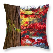 Painterly Rendition Of Red Leaves And Tree Trunk In Autumn Throw Pillow