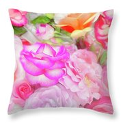 Painterly Tea Party With Fresh Garden Roses II Throw Pillow