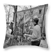 Painters In Montmartre, Paris, 1977 Throw Pillow
