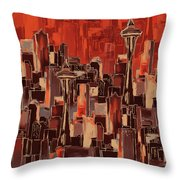 Painting 773 1 Seattle Skyline Throw Pillow