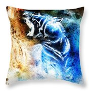Painting Abstract Tiger Collage On Color Space Background Wildlife Animals. Throw Pillow