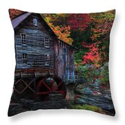 Painting Babcock State Park Glades Creek Grist Mill West Virginia Throw Pillow