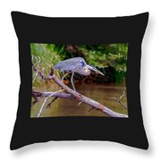 Painting Blue Heron Oak Creek Throw Pillow