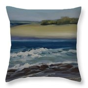 Painting Happy Valley Caloundra Qld Plein Air Painting Throw Pillow