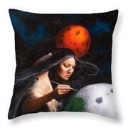 Painting Moons Throw Pillow