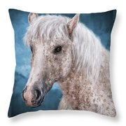 Painting Of A Brindle Horse With White Coat Throw Pillow