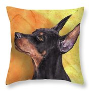 Painting Of A Cute Doberman Pinscher On Orange Background Throw Pillow