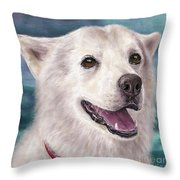 Painting Of A White And Furry Alaskan Malamute Throw Pillow