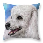 Painting Of A White Fluffy Poodle Smiling Throw Pillow