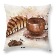 Painting Of Chocolate Delights, Pastry And Hot Cocoa Throw Pillow
