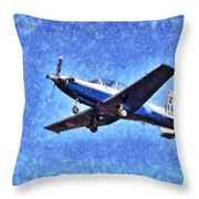 Painting Of Daedalus Demo Team Of Hellenic Air Force Flying A T-6a Texan II Throw Pillow