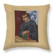 Painting Of Fr Balthasar Gracian Sj 180 Throw Pillow
