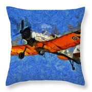 Painting Of Pezetel Aircraft Of Hellenic Air Force Throw Pillow
