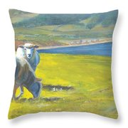 Painting Of Sheep On A Cliff Top Throw Pillow