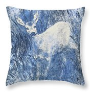 Painting Of Young Deer In Wild Landscape With High Grass. Graphic Effect. Throw Pillow